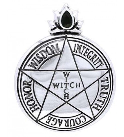 Witch Virtues Pentagram Sterling Silver Pendant at All Wicca Magickal Supplies, Wiccan Supplies, Wicca Books, Pagan Jewelry, Altar Statues