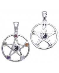 Pentacle with Gems and Yin Yang Pendant All Wicca Store Magickal Supplies Wiccan Supplies, Wicca Books, Pagan Jewelry, Altar Statues