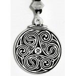 Triscele Celtic Spiral Pewter Necklace