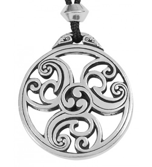 Celtic Triscele Spiral Pewter Necklace at All Wicca Store Magickal Supplies, Wiccan Supplies, Wicca Books, Pagan Jewelry, Altar Statues