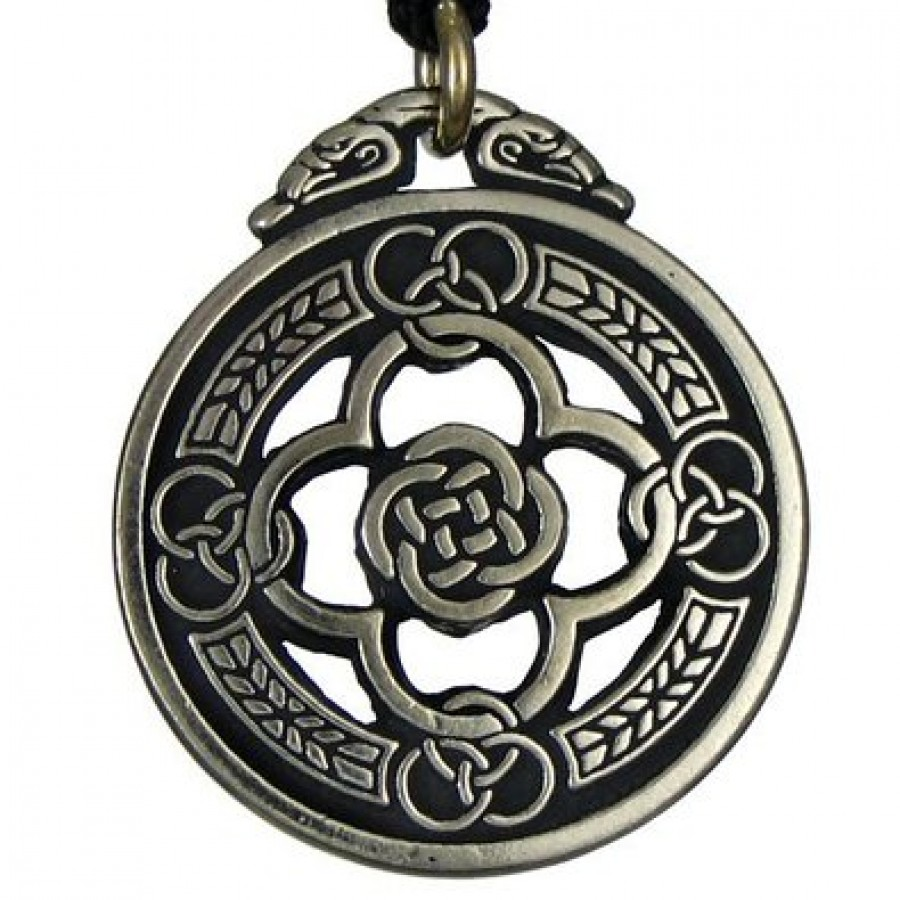 Celtic Knot Warrior Shield Protection Necklace Quatrefoil Design Amulet