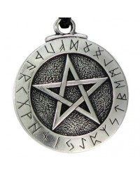 Runic Pentacle Pewter Necklace All Wicca Magickal Supplies Wiccan Supplies, Wicca Books, Pagan Jewelry, Altar Statues