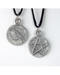 Raven Pentacle Double Sided Pewter Necklace All Wicca Store Magickal Supplies Wiccan Supplies, Wicca Books, Pagan Jewelry, Altar Statues