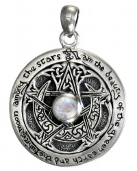 Rainbow Moonstone Moon Pentacle Sterling Silver Pendant All Wicca Store Magickal Supplies Wiccan Supplies, Wicca Books, Pagan Jewelry, Altar Statues