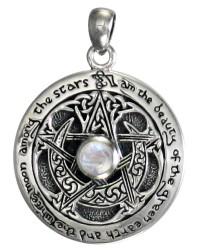 Rainbow Moonstone Moon Pentacle Sterling Silver Pendant