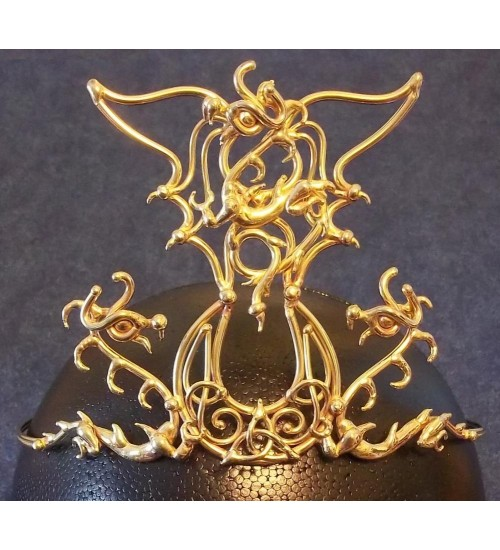 Triple Dragon Moon Bronze Draconian Wiccan Circlet at All Wicca Store Magickal Supplies, Wiccan Supplies, Wicca Books, Pagan Jewelry, Altar Statues