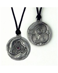 Triple Spirals Raven Pewter Necklace All Wicca Store Magickal Supplies Wiccan Supplies, Wicca Books, Pagan Jewelry, Altar Statues