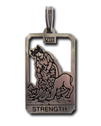 Strength Small Tarot Pendant All Wicca Store Magickal Supplies Wiccan Supplies, Wicca Books, Pagan Jewelry, Altar Statues