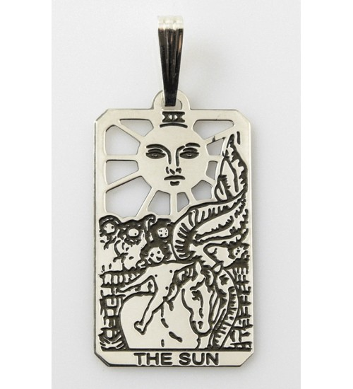 The Sun Small Tarot Pendant at All Wicca Store Magickal Supplies, Wiccan Supplies, Wicca Books, Pagan Jewelry, Altar Statues