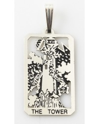 The Tower Small Tarot Pendant