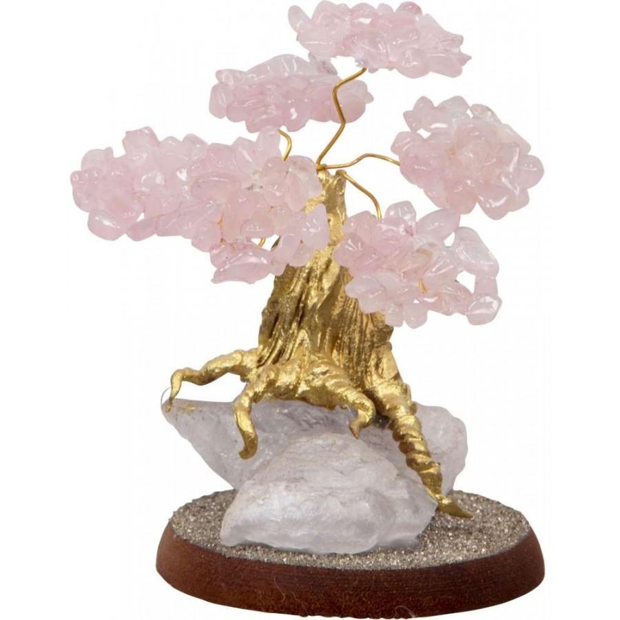Rose Quartz Gemstone Wishing Tree Crystal Bonsai Tree Feng Shui