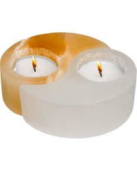 Selenite Yin Yang Tea Light Candle Holder