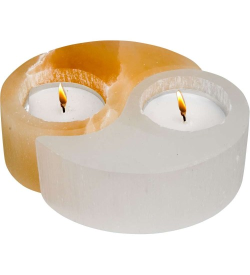 Selenite Yin Yang Tea Light Candle Holder at All Wicca Store Magickal Supplies, Wiccan Supplies, Wicca Books, Pagan Jewelry, Altar Statues
