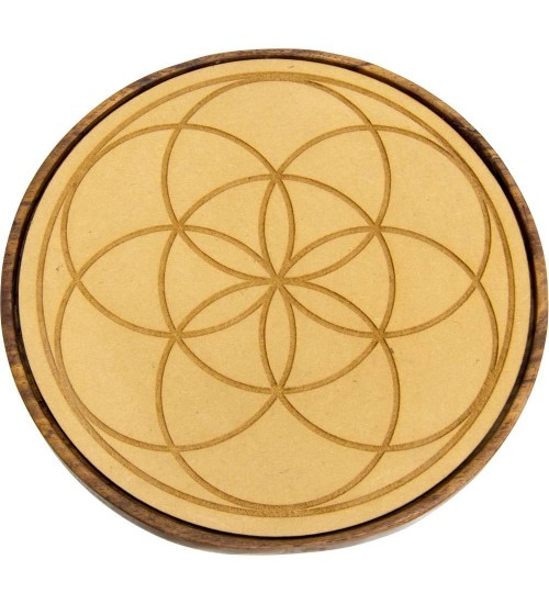 Seed of Life Wood Crystal Grid at All Wicca Store Magickal Supplies, Wiccan Supplies, Wicca Books, Pagan Jewelry, Altar Statues