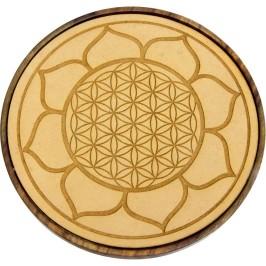 Lotus Flower of Life Wood Crystal Grid