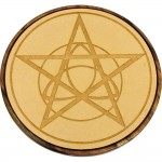 Pentacle Triquetra Wood Crystal Grid