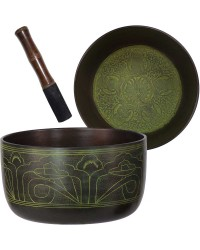 Green Flat Side 6 Inch Singing Bowl All Wicca Store Magickal Supplies Wiccan Supplies, Wicca Books, Pagan Jewelry, Altar Statues