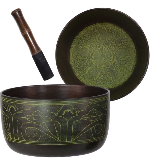 Green Flat Side 6 Inch Singing Bowl at All Wicca Store Magickal Supplies, Wiccan Supplies, Wicca Books, Pagan Jewelry, Altar Statues
