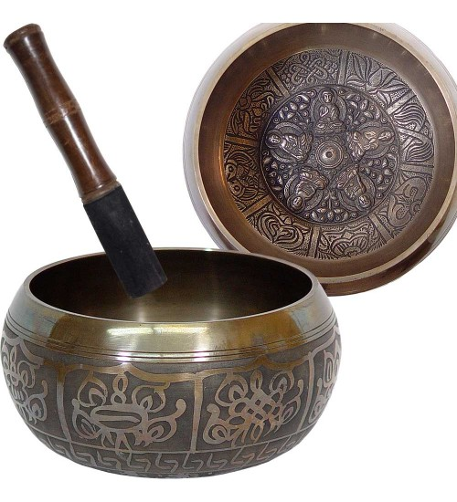 Dhyani Buddhas Small 4.5 Inch Embossed Singing Bowl at All Wicca Store Magickal Supplies, Wiccan Supplies, Wicca Books, Pagan Jewelry, Altar Statues