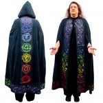 Black Chakra Hooded Ritual Cloak