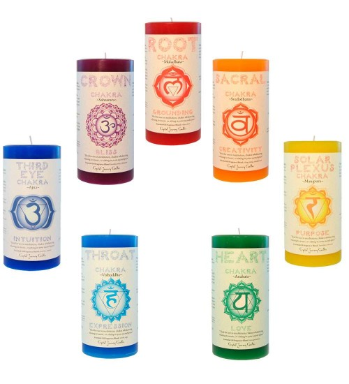 Chakra Pillar Candles - Set of 7 at All Wicca Magical Supplies, Wiccan Supplies, Wicca Books, Pagan Jewelry, Altar Statues