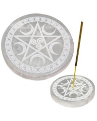 Selenite Pentacle Incense Holder/Charging Plate All Wicca Store Magickal Supplies Wiccan Supplies, Wicca Books, Pagan Jewelry, Altar Statues