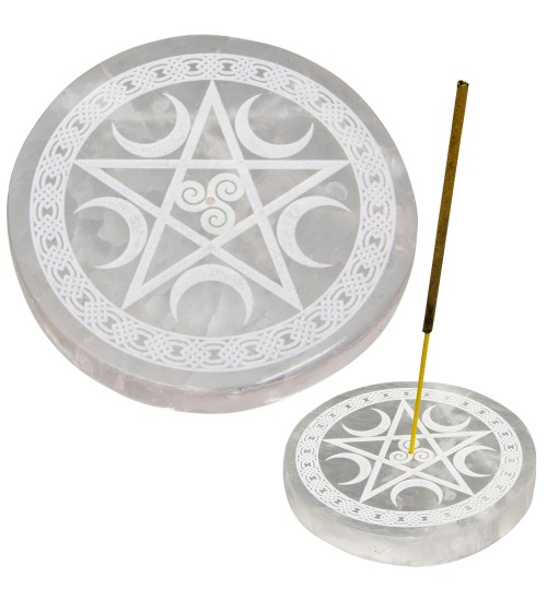 Selenite Pentacle Incense Holder/Charging Plate at All Wicca Store Magickal Supplies, Wiccan Supplies, Wicca Books, Pagan Jewelry, Altar Statues