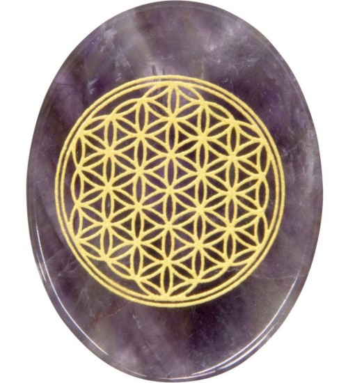 Amethyst Flower of Life Worry Stone at All Wicca Magickal Supplies, Wiccan Supplies, Wicca Books, Pagan Jewelry, Altar Statues