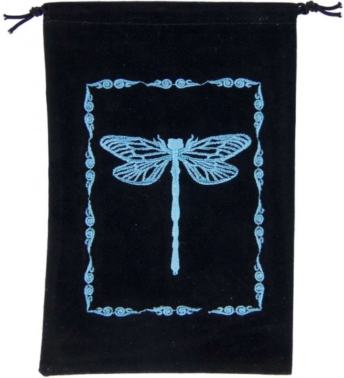 Dragonfly Embroidered Velvet Pouch