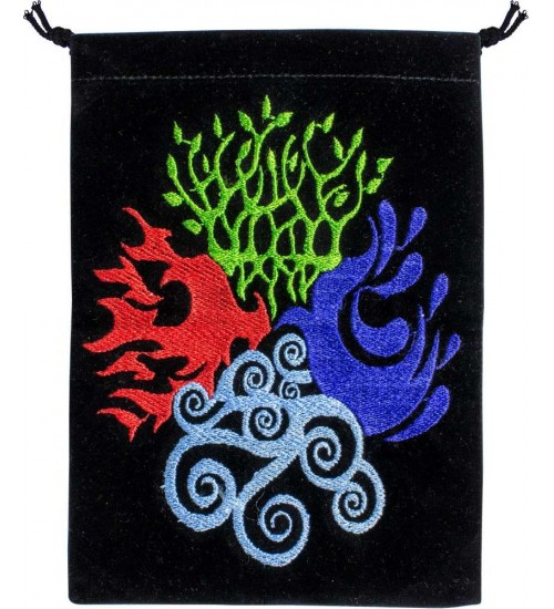 4 Elements Embroidered Velvet Pouch at All Wicca Store Magickal Supplies, Wiccan Supplies, Wicca Books, Pagan Jewelry, Altar Statues