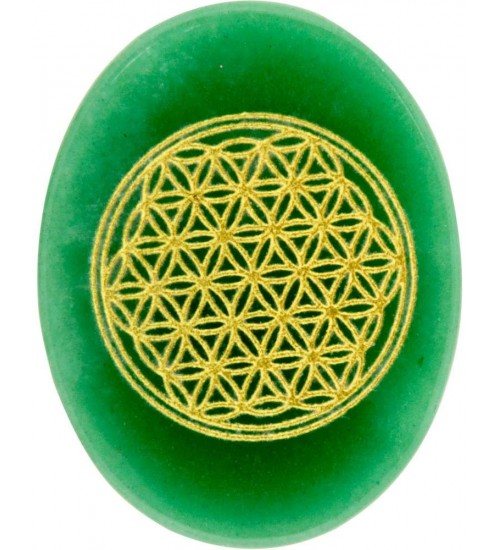 Green Aventurine Flower of Life Worry Stone at All Wicca Magickal Supplies, Wiccan Supplies, Wicca Books, Pagan Jewelry, Altar Statues