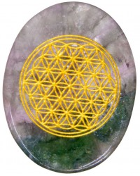 Rainbow Fluorite Flower of Life Worry Stone All Wicca Store Magickal Supplies Wiccan Supplies, Wicca Books, Pagan Jewelry, Altar Statues