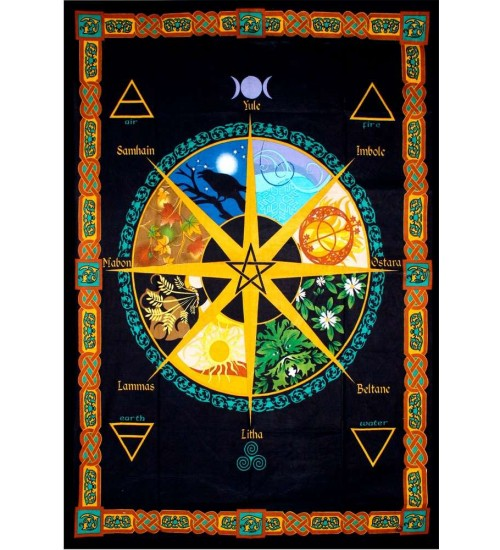 Wheel of the Year Calendar Tapestry at All Wicca Store Magickal Supplies, Wiccan Supplies, Wicca Books, Pagan Jewelry, Altar Statues
