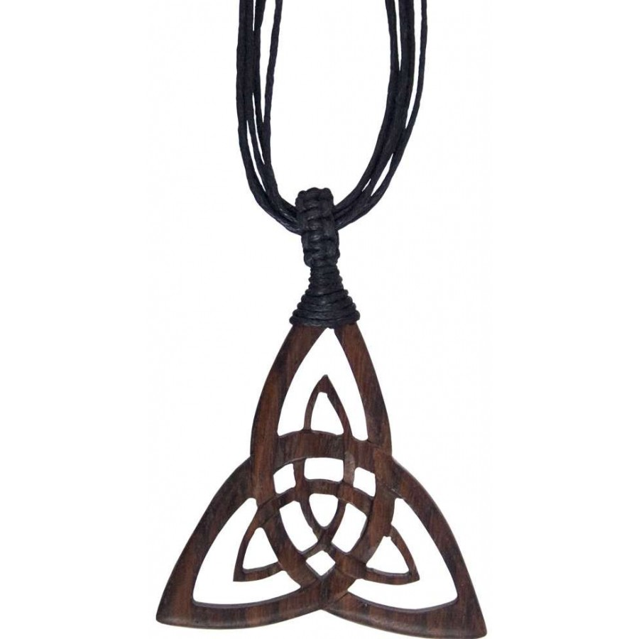 Wood Triquetra Large Pendant On Multi Strand Cord 2 Inch Triquetra