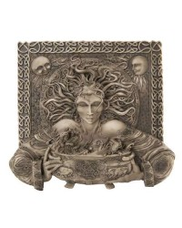 Cerridwen Cauldron Celtic Goddess 9 Inch Stone Finish Plaque All Wicca Store Magickal Supplies Wiccan Supplies, Wicca Books, Pagan Jewelry, Altar Statues