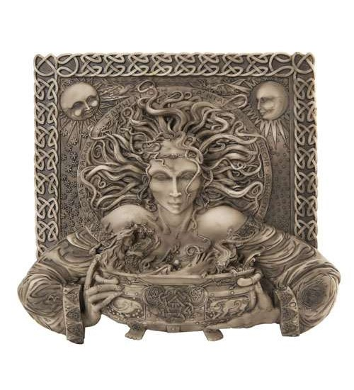 Cerridwen Cauldron Celtic Goddess 9 Inch Stone Finish Plaque at All Wicca Store Magickal Supplies, Wiccan Supplies, Wicca Books, Pagan Jewelry, Altar Statues