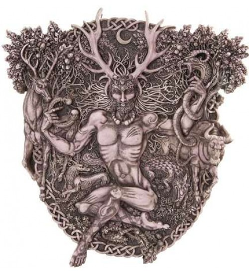 Cernunnos Horned God Celtic Wall Plaque Stone Finish at All Wicca Store Magickal Supplies, Wiccan Supplies, Wicca Books, Pagan Jewelry, Altar Statues
