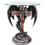 Dragon Cross Glass Top Accent Table