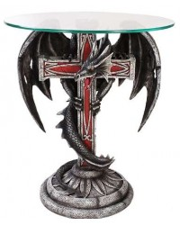 Dragon Cross Glass Top Accent Table All Wicca Store Magickal Supplies Wiccan Supplies, Wicca Books, Pagan Jewelry, Altar Statues