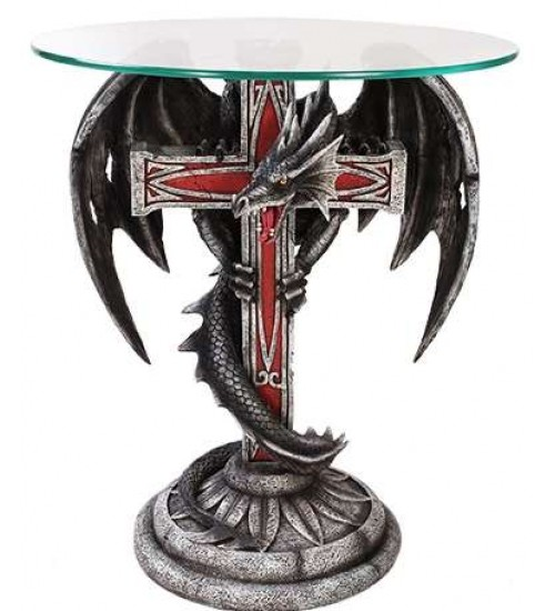 Dragon Cross Glass Top Accent Table at All Wicca Store Magickal Supplies, Wiccan Supplies, Wicca Books, Pagan Jewelry, Altar Statues