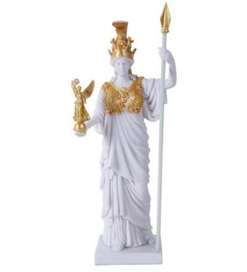 Athena, Greek Goddess of War White and Gold Statue at All Wicca Store Magickal Supplies, Wiccan Supplies, Wicca Books, Pagan Jewelry, Altar Statues