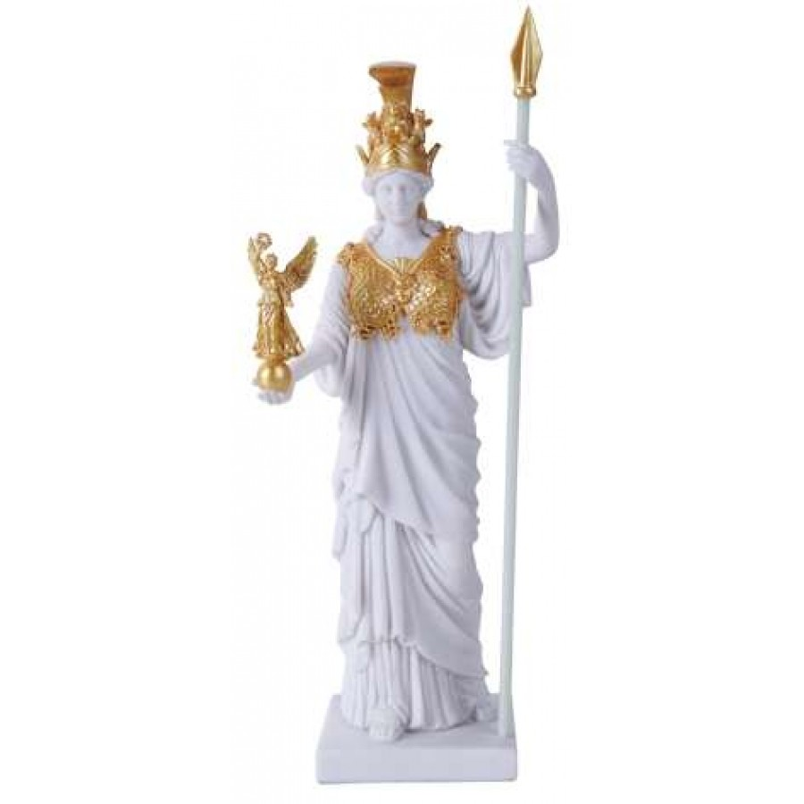 athena greek goddess of war white and gold altar statue wicca