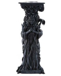 Mother, Maiden, Crone Goddess Candle Holder Gray