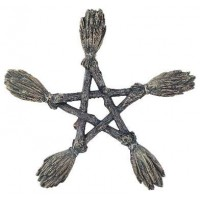 Witches Broom Pentagram Wall Plaque