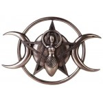 Spiral Goddess Triple Moon Bronze Plaque