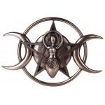 Spiral Goddess Triple Moon Bronze Plaque