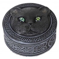 Black Cat Trinket Box with Rolling Eyes