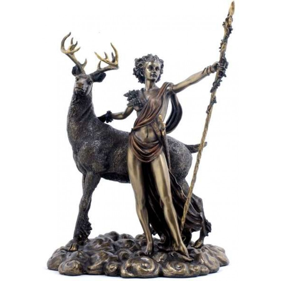 Diana artemis greek goddess of the hunt statue with deer horned god diana artemis greek goddess of the hunt statue with deer at all wicca wiccan altar biocorpaavc Choice Image