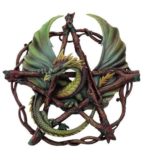 Forest Pentagram Dragon Plaque by Anne Stokes at All Wicca, Wiccan Altar Supplies, All Wicca Books, Pagan Jewelry, Wiccan Statues