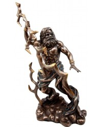 Zeus Greek King of Gods with Thunderbolt Bronze Statue All Wicca Store Magickal Supplies Wiccan Supplies, Wicca Books, Pagan Jewelry, Altar Statues